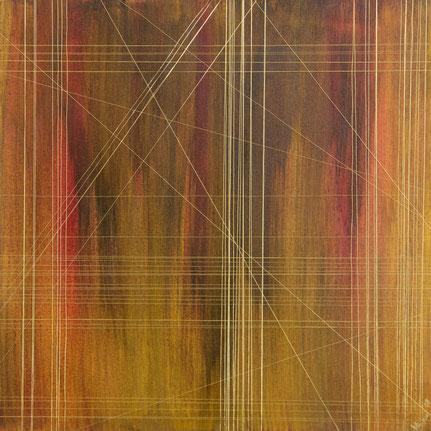 """Goldadern"", Acryltinte & Draht auf Leinwand, 50x50cm"