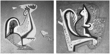 Sgraffitto mit Mosaikelementen, Kindergarten St. Josef, Leverkusen, 1956 (SW-Foto, Original farbig)