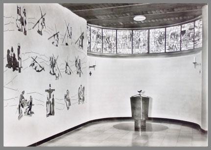 Sgraffitto (Kreuzweg), St. Ursula, Düsseldorf-Grafenberg, 1963