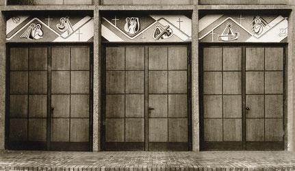 Sgraffitto, Friedenskirche, Leverkusen, 1954 (existiert nicht mehr)