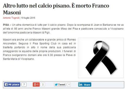 Pasticceria Masoni Vicopisano lutto Franco Masoni 19 giugno 2015