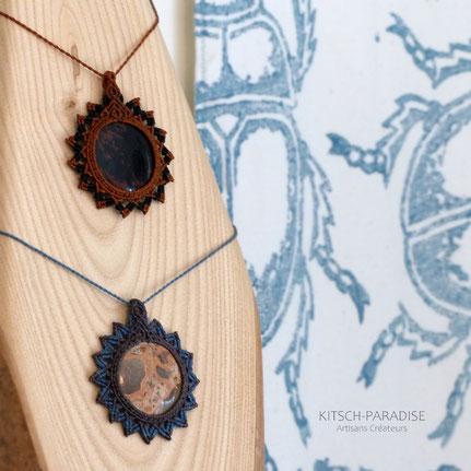 collier pierre stone macrame atelier necklace micromacrame atelier ouverte
