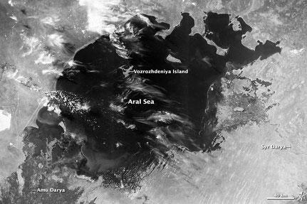 Der Aralsee, bevor die Baumwollproduktion ihn austrocknete (Bild: NASA)