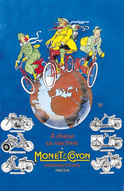 """Affiche Monet & Goyon """"À chacun sa machine"""" représentant la Terre avec trois personnages dessinés dessus sur leur deux-roues et différents modèles dessinés au-dessous"""