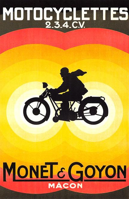 Affiche motocyclettes Monet & Goyon représentant une silhouette de motard