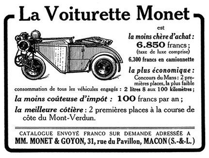 Publicité pour la voiturette Monet & Goyon