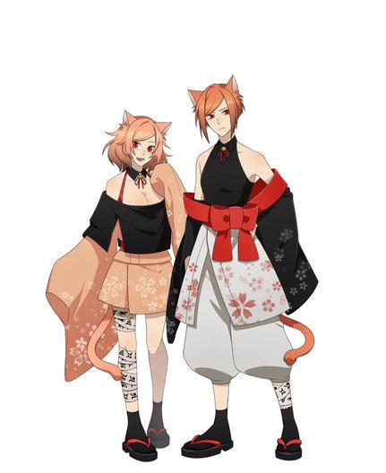 左が猫又すず(姉)、右が猫又りん(妹)