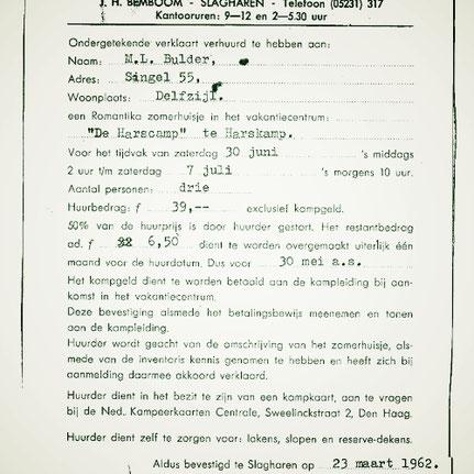 Een huurovereenkomst voor de verhuur van een vakantiehuisje, ondertekend door Henk Bemboom, 23 maart 1962...