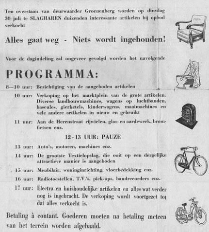 1963 Programma van de allereerste 'Boeldag' in Slagharen.