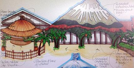 Een van de eerste ontwerptekeningen van de façade van het nieuw zwembad complex...