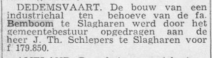 31 december 1954, de bouw van Henk Bemboom's industriehal werd opgedragen aan Theodoor Schlepers.