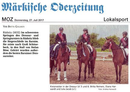 Erster und dritter Platz für die Dressurreiter des RVI in Rüdnitz, erschienen in der MOZ am 27.07.2017