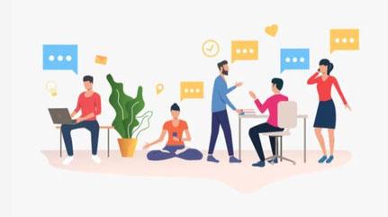 Illustration von mehreren kommunizierenden Menschen