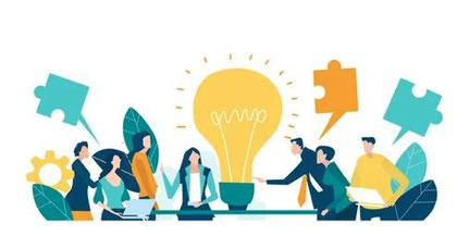 Illustration von einer Gruppe, die eine Idee bespricht