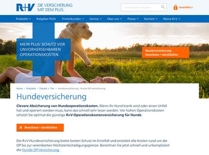 Online-Einstieg in die Hundeversicherung der R+V