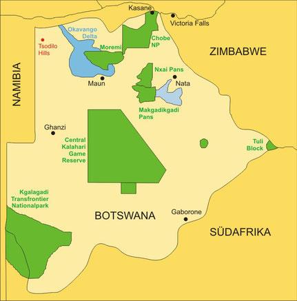 Botswana Reisen - Karte