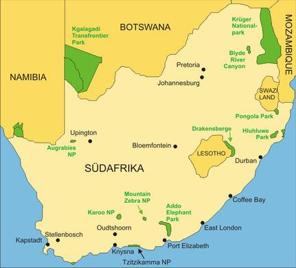 Südafrika Reisen - Karte