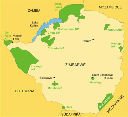 Zimbabwe Reisen - Karte
