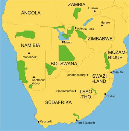 Länder des Südlichen Afrikas: Südafrika, Namibia, Botswana, Zimbabwe, Zambia