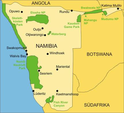 Namibia Reisen - Karte