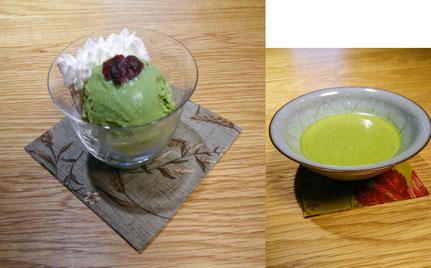 茶農家(上香園)さんの抹茶アイスクリームと碾茶農家(上嶋さん)の抹茶               ¥900