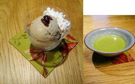 茶農家(上香園)さんのほうじ茶アイスクリームと碾茶農家(上嶋)さんの抹茶        ¥900