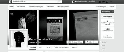 Screenshot der Facebookseite Kunstfundstuecke