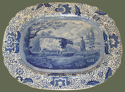 The Durham Ox.  Blue and white transfer platter early 18th century