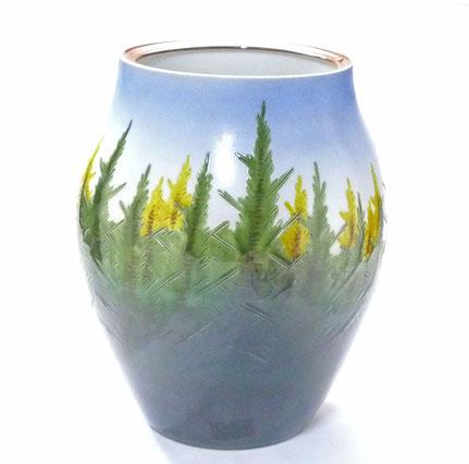 九谷焼通販 おしゃれな花瓶 花器 本金 杉木立 正面の図