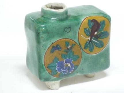 九谷焼通販 おしゃれ 花瓶 一輪挿し 丸紋緑塗り