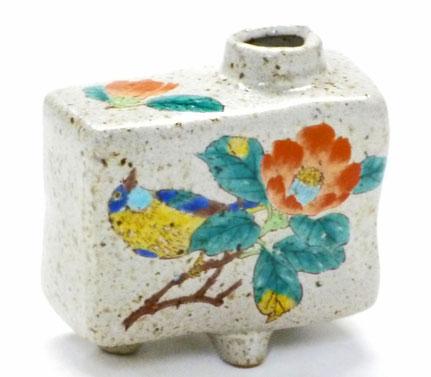 九谷焼通販 おしゃれ 花瓶 一輪挿し 椿に鳥