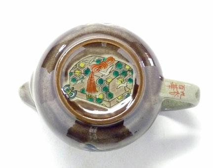 九谷焼通販 急須 茶器 おしゃれ おすすめ 宝尽し紫塗り 裏絵