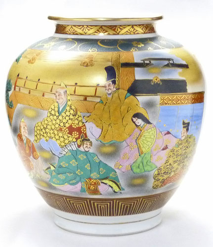 九谷焼通販 おしゃれな花瓶 花器 本金 六歌仙 正面の図