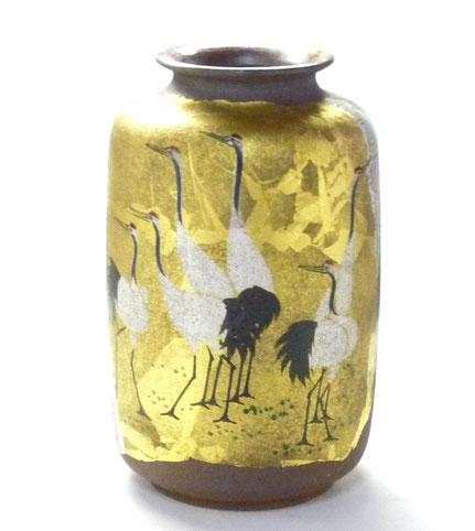 九谷焼通販 おしゃれな花瓶 花器 本金 鶴紋 正面の図