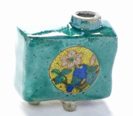 九谷焼通販 おしゃれ 花瓶 一輪挿し 丸紋花鳥緑塗り