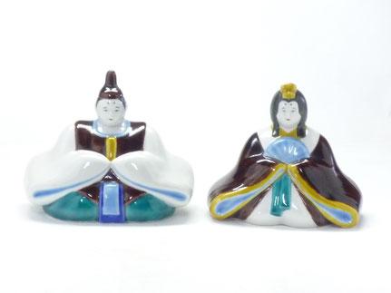 九谷焼 雛人形 お雛様 座り雛 色絵 5号