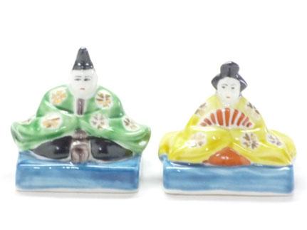 九谷焼 雛人形 お雛様 座り雛 金桜 2号 裏書