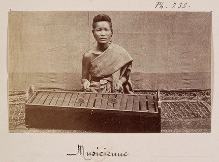 Oldest photograph of roneat dek with 19 iron blades. Émile Gsell, c. 1866-70