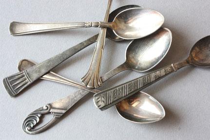 Besteck, Löffel, Espressolöffel. Mokkalöffel, versilbert, Vintage, Antik