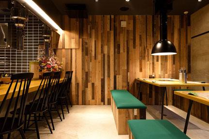 古材 ビンテージボード 壁 施工事例 焼肉屋 飲食店 andwood アンドウッド
