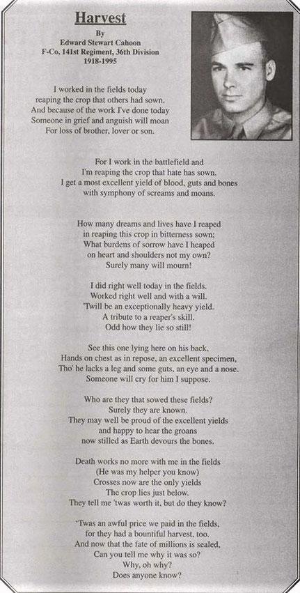 Poême écrit par Edward CAHOON.