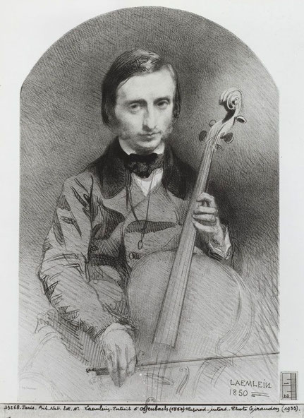Alexandre Laemlein, Jacques Offenbach, Violoncello, Zeichnung,