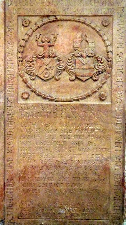 Grabplatte von Maria Freyaltenhofen - Foto: Thomas Schwab -   Abschrift:  Andreas Schmidt Wettenberg