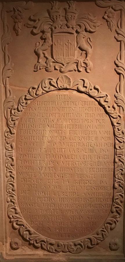 Grabstein von Johann Friedrich Waitz von Eschen, Foto Brigitta Gebauer