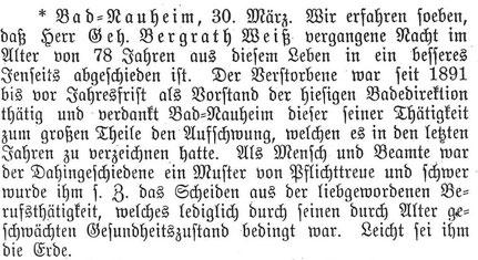 Nachruf in der Wetterauer Zeitung vom 30. März 1901