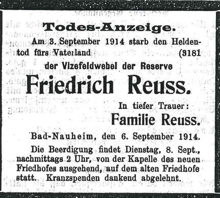 Todesanzeige Friedrich Reuss