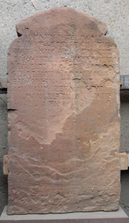 Grabstein von Johann Philipp Mörler (Rückseite), Foto Thomas Schwab, Abschrift: Andreas Schmidt, Wettenberg