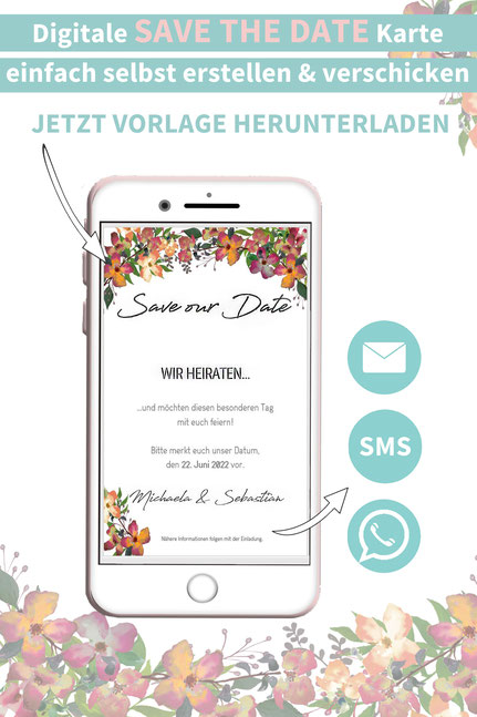 Herbst, Blumen, floral, orange, Save the date, digitale, Handy, selber machen, Vorlage, Whatsapp, elektronische, Hochzeit ankündigen, Hochzeitskarte, Druckvorlage, basteln