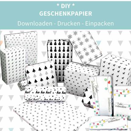 DIY Geschenkpapier, Geschenkpapier drucken, Geschenkpapier selber machen, Geschenkpapier Weihnachten