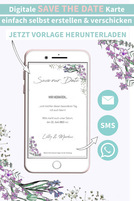 Blumen, lila, floral, Save the date, digitale, Handy, selber machen, Vorlage, Whatsapp, elektronische, Hochzeit ankündigen, Hochzeitskarte, Druckvorlage, basteln